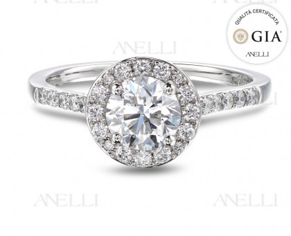 Anello Halo Diamante 0.70 F-VS1 con GIA
