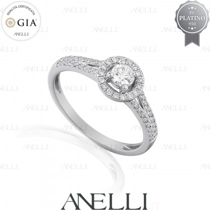 Anello Halo Platino Diamante 0.30 D-IF GIA