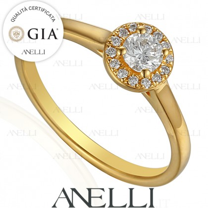 Anello Halo Oro Giallo 0.30 D-IF GIA